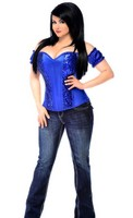 Top Drawer Plus Size Blue Steel Boned Molded Cup Sequin Corset Top