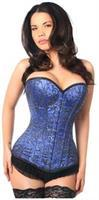 Top Drawer Elegant Royal Blue Embroidered Steel Boned Corset