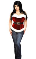 Top Drawer Red Holiday Velvet Steel Boned Corset Top