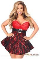 Top Drawer Red Lace Steel Boned Corset Dress