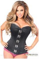 Top Drawer Black Steel Boned Corset w/Clasp Closure