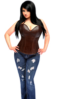 Top Drawer Plus Size Dark Brown Distressed Faux Leather Steel Boned Corset Top