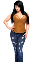 Top Drawer Plus Size Camel Distressed Faux Leather Steel Boned Corset Top