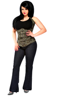 Top Drawer Plus Size Camo Steel Boned Underbust Corset With Buckles Top