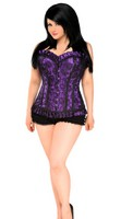Top Drawer Plus Size Purple Lace Steel Boned Corset