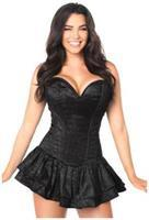 Top Drawer Black Glitter Steel Boned Corset Dress