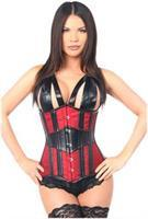 Top Drawer Faux Leather and Brocade Steel Boned Underbust Corset