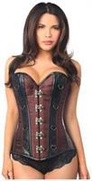 Top Drawer Brown Brocade and Faux Leather Steel Boned Corset