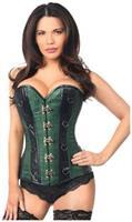 Top Drawer Dark Green Brocade and Faux Leather Steel Boned Corset