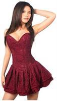 Top Drawer Wine Lace Steel Boned Ruffle Corset Dress