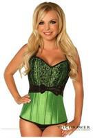 Top Drawer Green Lace and Bow Halter Steel Boned Corset