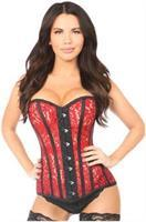 Top Drawer Sheer Red Lace Steel Boned Corset