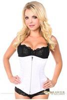 Top Drawer White Satin Underbust Steel Boned Corset