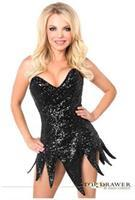 Top Drawer Black Sequin Steel Boned Corset Dress