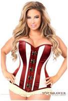 Top Drawer Ivory/Dark Red Steel Boned Corset w/Clasp Closure