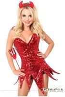 Top Drawer Red Sequin Devil Corset Dress Costume