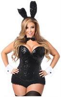 Top Drawer Black Sequin Tuxedo Bunny Corset Costume