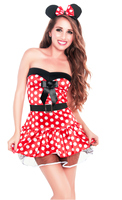 Red Polka Dot Minnie Mouse Theme Party Dress