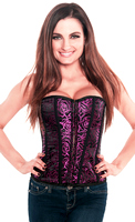 Elegant Valentine Purple Embroidered Womens Corset Top
