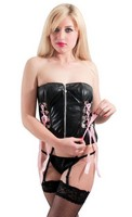 Bold Biker Black Vinyl Corset Top with G-String