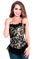 Designer Overbust Black Brocade Halloween Party Corset Top