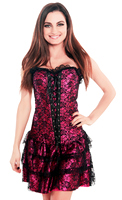 Pink Lace Overlay Party Corset Dress