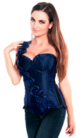 Blue Floral One Shoulder Strap Party Corset Top