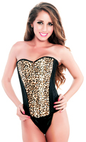 Leopard Print Black Steel Boned Corset Top