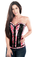 Spring Ruffled Floral Print Valentine Steel Boned Corset Top