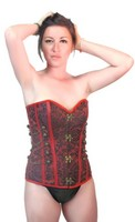 Womens Designer Steampunk Steel Boned Valentine Red Corset Top