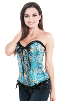 Designer Overbust Blue Brocade Steel Busk Closure Fashion Corset