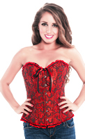 Valentine Burlesque Red Embroidered Brocade Clubwear Corset Top