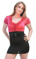 Pink Black Party Mini Dress with Matching Belt