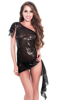 Sparkly Black One Shoulder Party Mini Dress