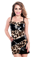 Luscious Leopard Print  Faux Leather Summer Theme Party Mini Dress
