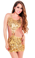 Golden Sexy Shimmer Sequin Party Mini Dress