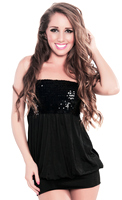Sexy Sequin Black Christmas Party Tube Dress