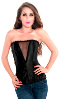 Classic Black Deep V Satin Strapless Corset Top