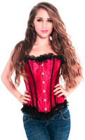 Valentine Red Satin Overbust Corset Top
