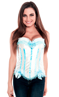 Elegant White Blue Satin Burlesque Fashion Corset Top