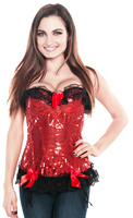 Valentine Red Sequin Pin-Up Party Corset Top
