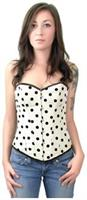 Elegant White Black Polka Dot Womens Corset Top