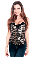 Black White Trimmed Lace Tapestry Corset Top