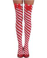 Candy Cane Thigh Highs Red/White O/S