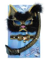 Deluxe Black Glitter Cat Mask Set