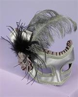 Satin and Feather Half Mask on Glasses