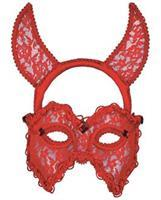 Red Lace Devil Mask and Headband