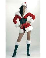 Short n' Sweet Santa Fur Trimmed Jacket w/Attached Corset and Hat