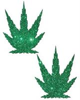Pastease Green Glitter Marijuana Leaf - O/S