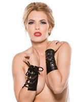 Faux Leather Ring Arm Gaurds Black